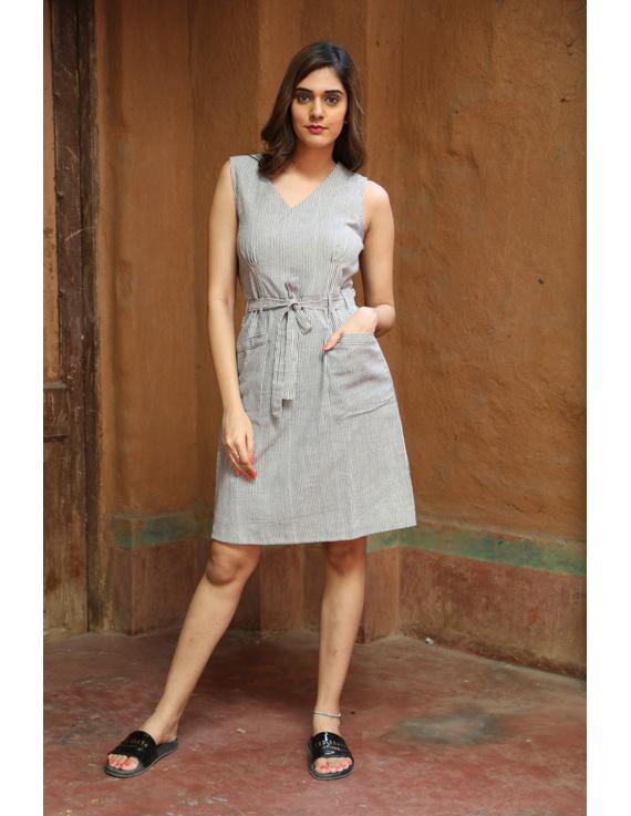 Knee length narrow striped dress in handloom cotton:LD470B-LD470B-XL