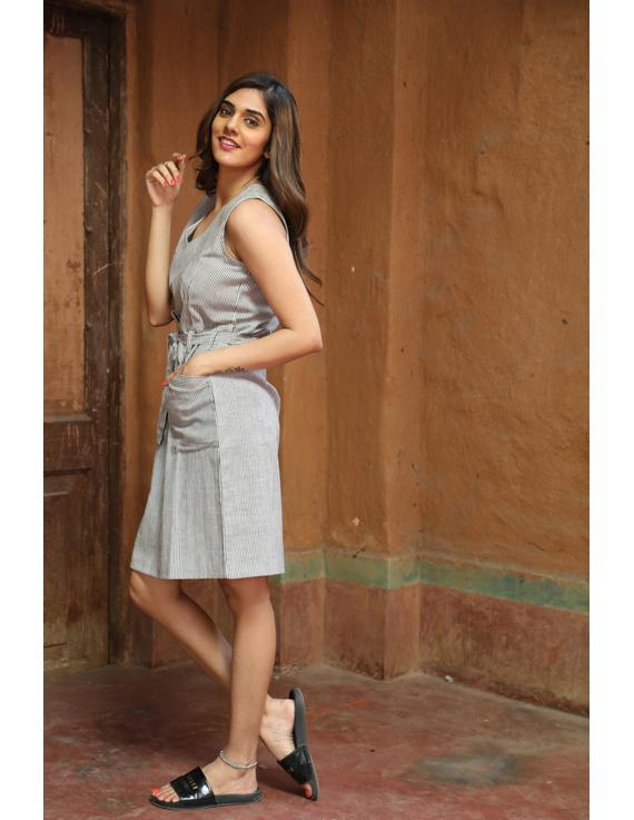 Knee length narrow striped dress in handloom cotton:LD470B-XXl-1