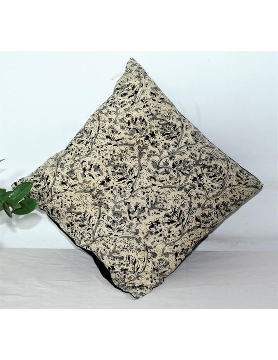 Floral Kalamkari Cushion Cover In Cream And Black - Pack Of Three : HCC02-HCC02-16-16