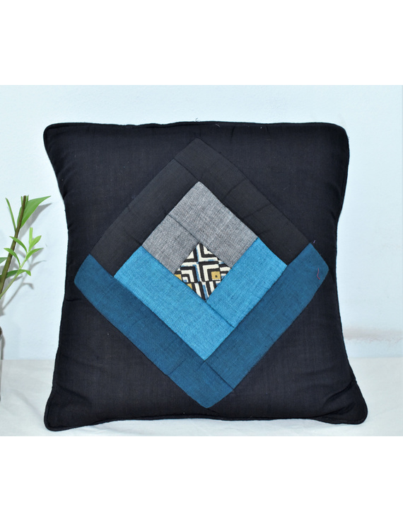 Patchwork Quilted Cushion Cover In Black And Blue - Pack Of Two - HCC04-HCC04-16-16