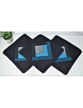 Patchwork Quilted Cushion Cover In Black And Blue - Pack Of Two - HCC04-1-sm