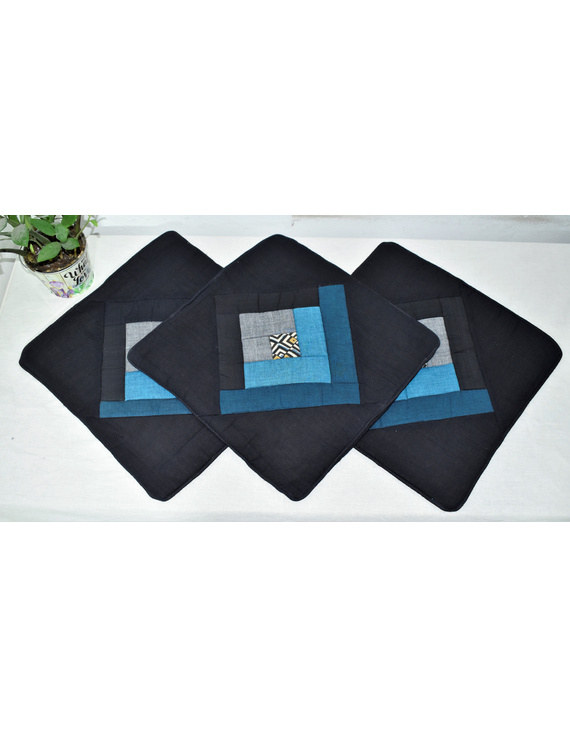 Patchwork Quilted Cushion Cover In Black And Blue - Pack Of Two - HCC04-1