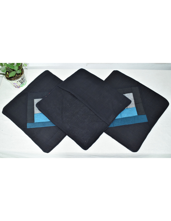 Patchwork Quilted Cushion Cover In Black And Blue - Pack Of Two - HCC04-2