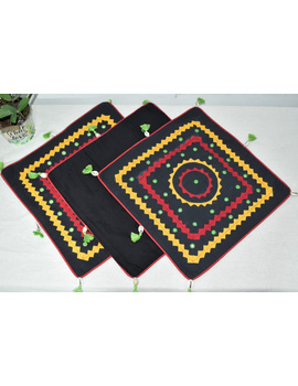 Black Applique Cushion Cover With Red Piping- Pack Of Two - HCC08-HCC08-16-16-sm
