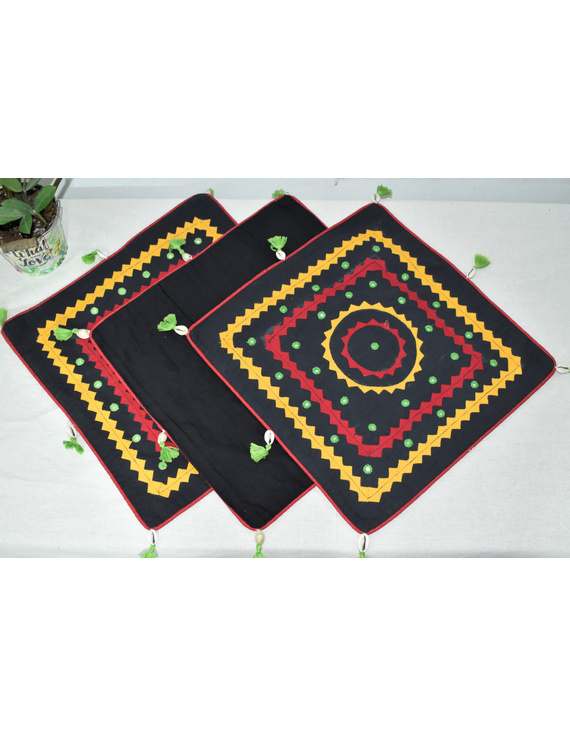 Black Applique Cushion Cover With Red Piping- Pack Of Two - HCC08-HCC08-16-16