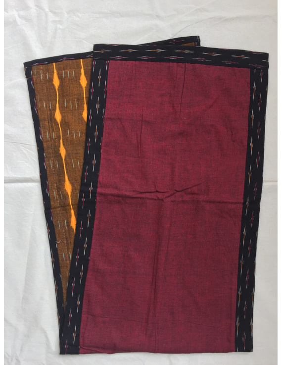 Mustard Ikat And Maroon Reversible Embroidered Table Runner : HTR06-13x40-1