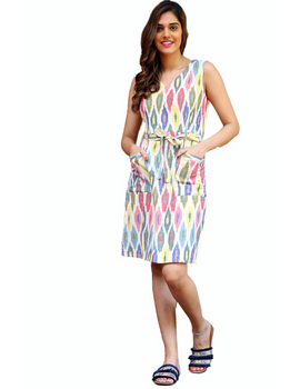 Knee length straight dress in multicolour ikat cotton: LD470C-LD470C-sm