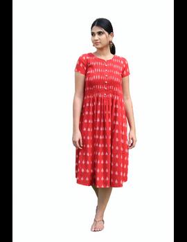Red ikat calf length dress with pintuck yoke: LD520A-M-4-sm