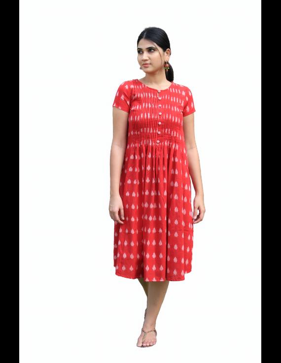 Red ikat calf length dress with pintuck yoke: LD520A-M-4