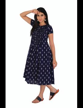 Dark blue ikat calf length dress with pintuck yoke: LD520C-L-4-sm