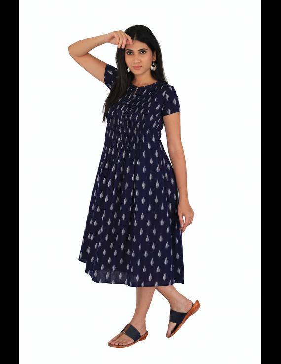 Dark blue ikat calf length dress with pintuck yoke: LD520C-L-4