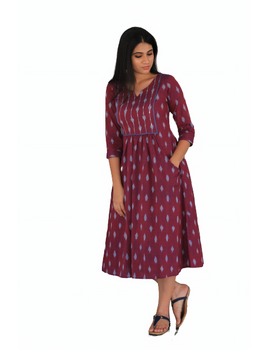 Dark purple ikat dress with embroidered yoke and front pockets: LD530A-M-4-sm