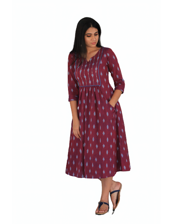 Dark purple ikat dress with embroidered yoke and front pockets: LD530A-M-4