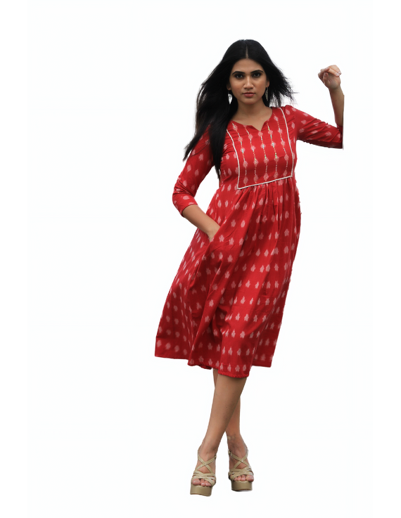 Red ikat dress with embroidered yoke and front pockets: LD530B-L-3