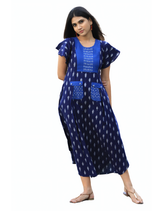 BLUE IKAT PLEATED DRESS WITH EMBROIDERED POCKETS AND YOKE: LD550B-M-4