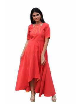 Pink handloom cotton high low long dress with halter neck and hand embroidery: LD590A-S-4-sm