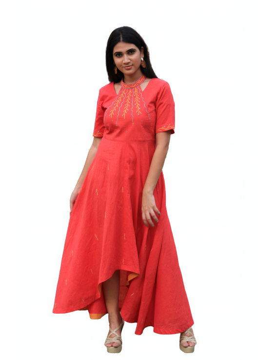 Pink handloom cotton high low long dress with halter neck and hand embroidery: LD590A-S-4