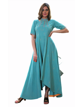 Sea green handloom cotton high low long dress with halter neck and hand embroidery: LD590B-S-4-sm