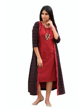 Red mangalagiri cotton straight dress with an ikat long jacket: LD 600A-L-5-sm