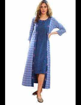 Blue mangalagiri cotton straight dress with an ikat long jacket: LD600B-XL-3-sm