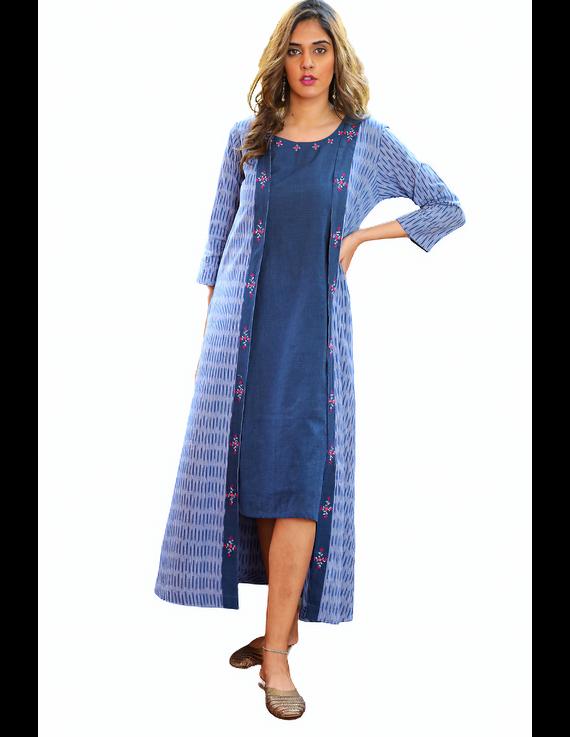 Blue mangalagiri cotton straight dress with an ikat long jacket: LD600B-XL-3