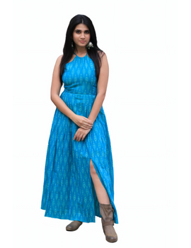 Turquoise semi silk ikat halter neck long dress with a front slit: LD610-L-4-sm