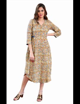 Mustard Yellow Kalamkari Cotton Dress: Ld620B-L-5-sm