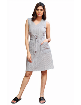 Knee length narrow striped dress in handloom cotton:LD470B-M-3-sm