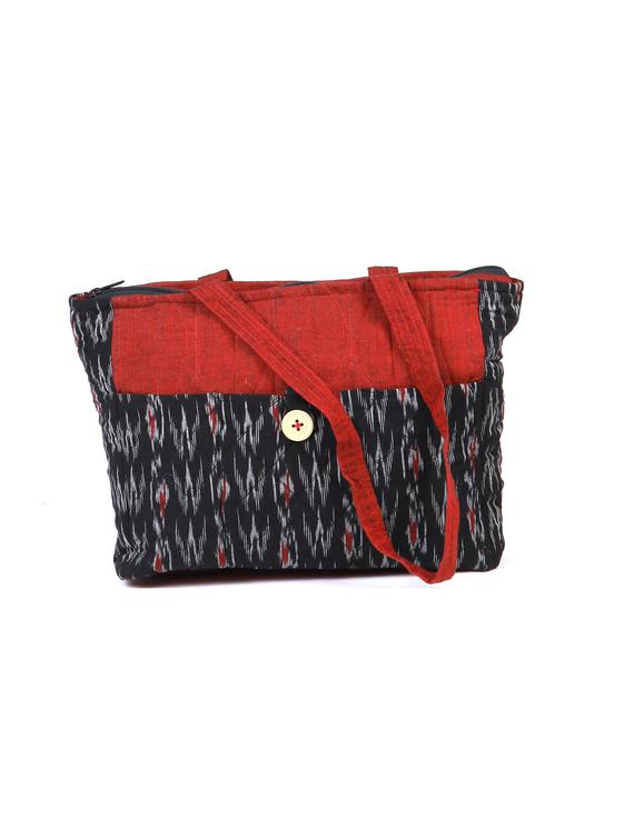 Black Ikat purse bag with pockets : TBD03-TBD03