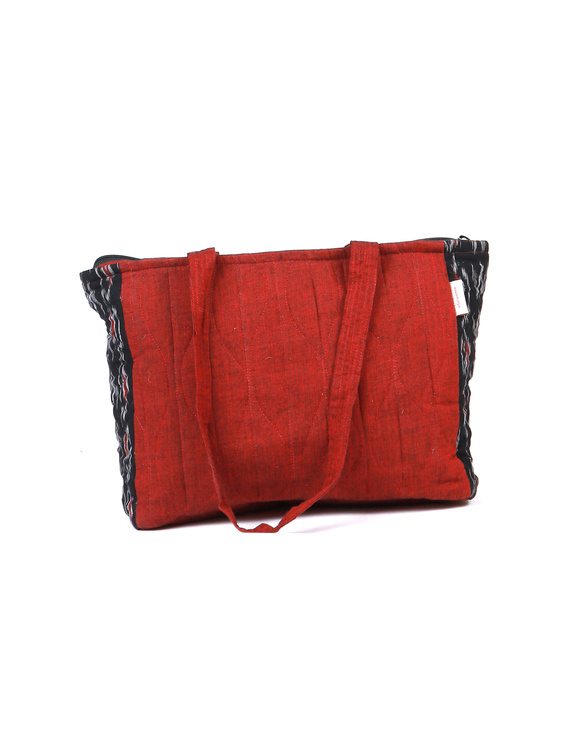 Black Ikat purse bag with pockets : TBD03-1