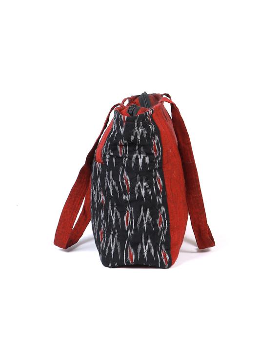 Black Ikat purse bag with pockets : TBD03-2