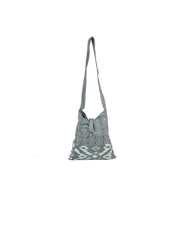 Grey ikat sling bag with embroidery : SBG03-1