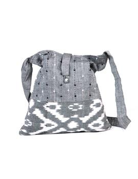 Grey ikat sling bag with embroidery : SBG03-2-sm