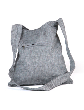 Grey ikat sling bag with embroidery : SBG03-3-sm