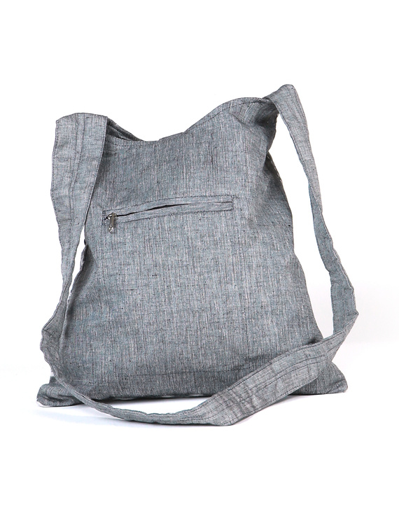 Grey ikat sling bag with embroidery : SBG03-3