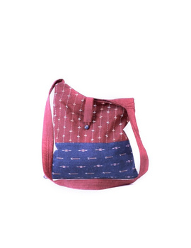 Maroon ikat sling bag with embroidery : SBG04-1-sm