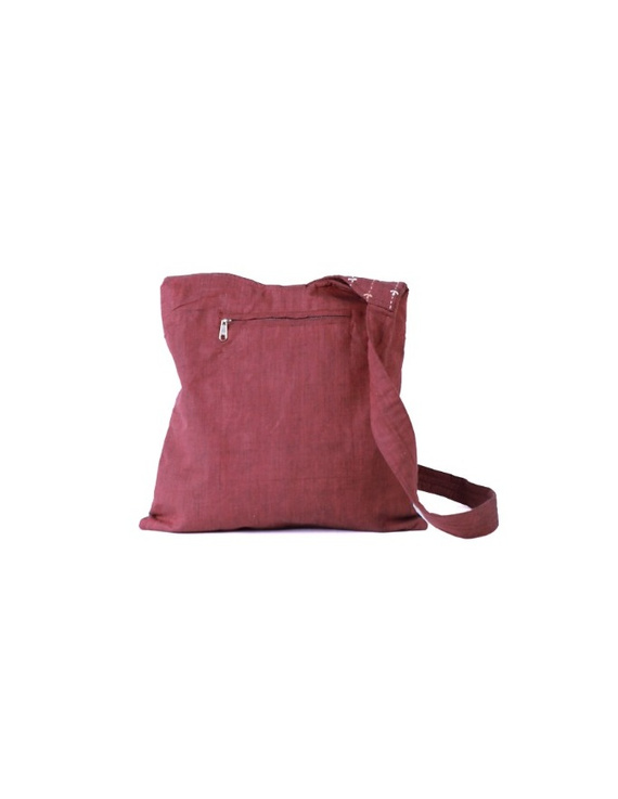 Maroon ikat sling bag with embroidery : SBG04-3