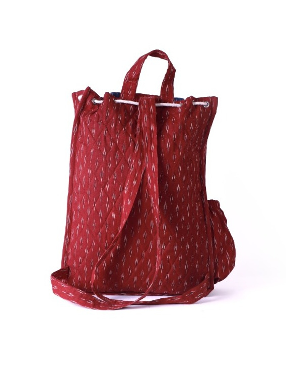 Maroon ikat backpack laptop bag : LBB02-3