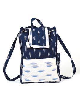 Blue ikat backpack laptop bag : LBB03-1-sm