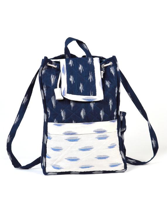 Blue ikat backpack laptop bag : LBB03-1