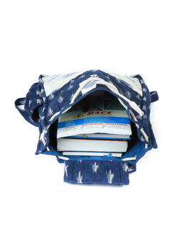 Blue ikat backpack laptop bag : LBB03-3-sm