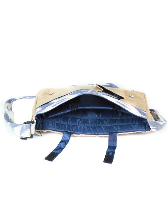 Ikat Laptop bag - blue and white : LBI02-3