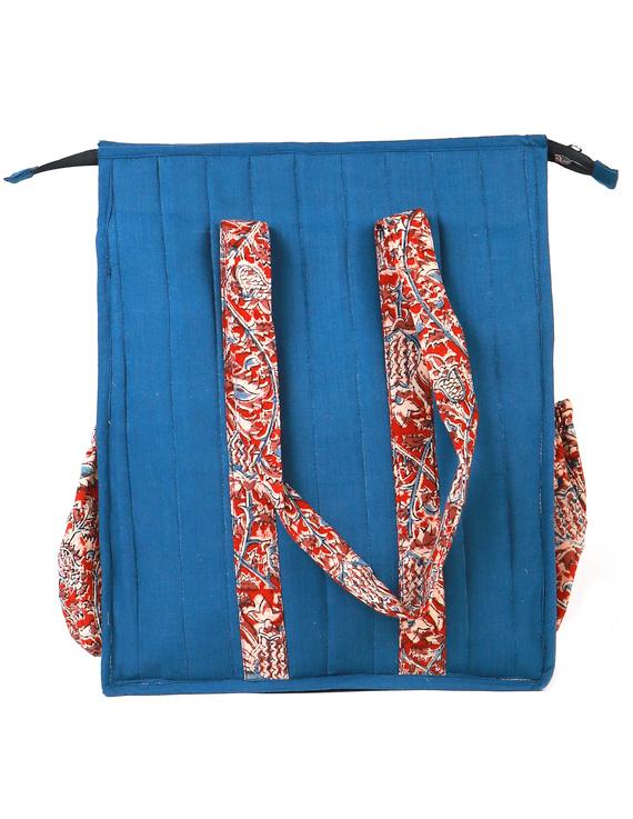 Blue Quilted vertical laptop bag : LBV01-1
