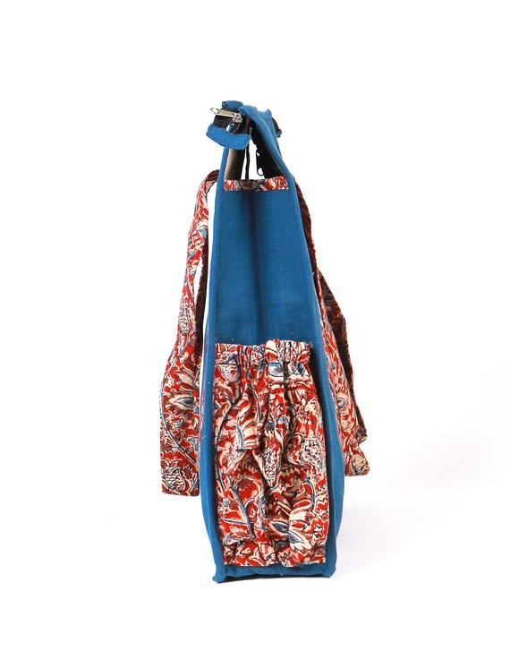 Blue Quilted vertical laptop bag : LBV01-2