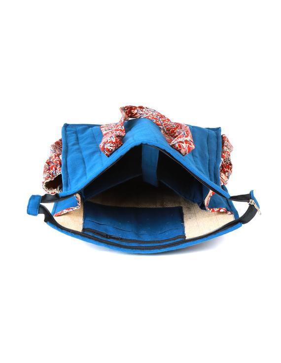 Blue Quilted vertical laptop bag : LBV01-3