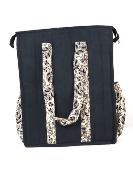 Black Quilted jute bag with laptop partition : LBV02-1-sm