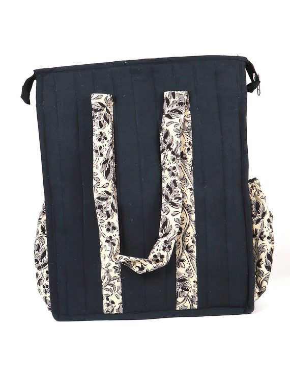 Black Quilted jute bag with laptop partition : LBV02-1