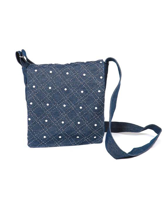 Denim sling bag with embroidery : SBE01-1
