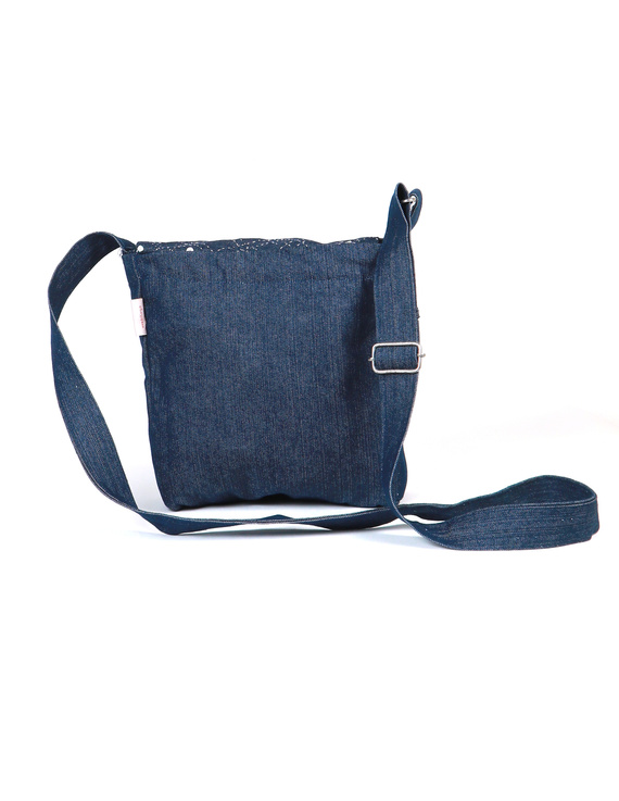 Denim sling bag with embroidery : SBE01-2