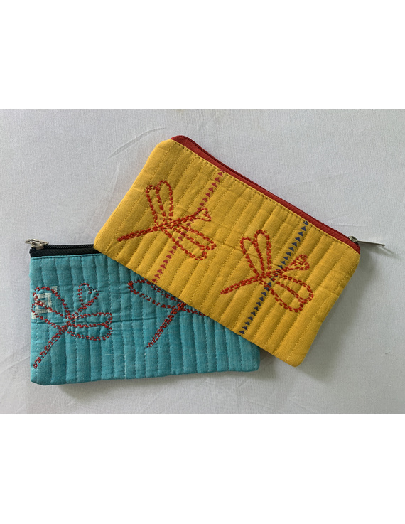 Pencil pouches with hand embroidery - pack of two : PPH01-PPH01